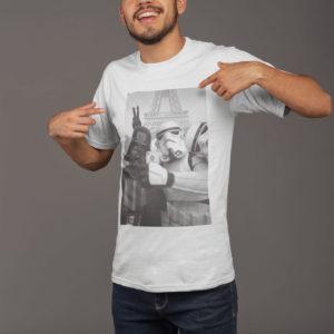 """Image de t-shirt blanc pour homme """"Selfie à Paris - Star Wars"""" - MCL Sérigraphie"""