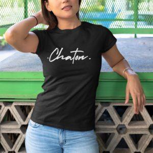 """Image de t-shirt noir pour femme """"Chaton"""" - MCL Sérigraphie"""