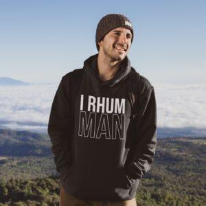 """Image de sweat à capuche noir pour homme """"I Rhum Man"""" - MCL Sérigraphie"""