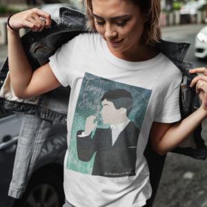 """Image de t-shirt blanc pour femme """"Peaky Blinders"""" - MCL Sérigraphie"""
