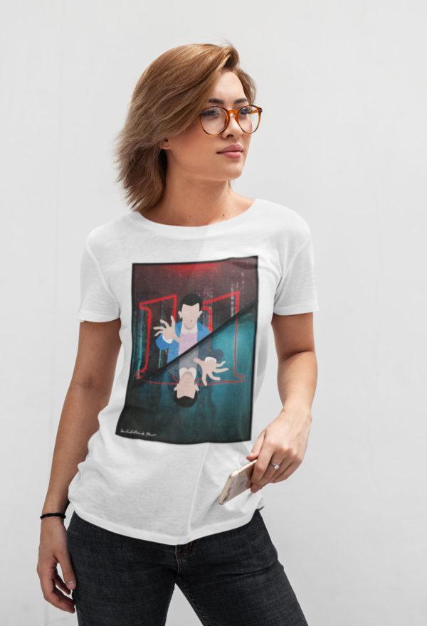 """Image de t-shirt blanc pour femme """"Stranger Things"""" - MCL Sérigraphie"""