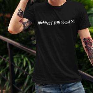 """Image de t-shirt noir pour homme """"Against the Norm""""- MCL Sérigraphie"""