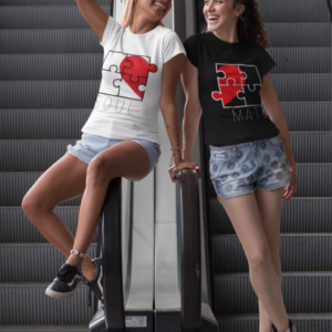"""Image de duo de t-shirts noirs et blancs femmes """"Soul/Mate"""" - MCL Sérigraphie"""
