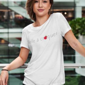 """Image de t-shirt blanc pour femme """"Belle à croquer""""- MCL Sérigraphie"""