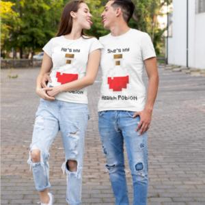 """Image de duo de t-shirts blancs homme et femme """"He's my health potion/She's my health potion"""" - MCL Sérigraphie"""