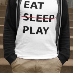 """Image de t-shirt blanc pour homme """"Eat, sleep, play"""" - MCL Sérigraphie"""