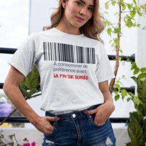 """Image de t-shirt blanc femme """"A consommer de préférence avant : la fin de soirée"""" - MCL Sérigraphie"""