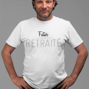 """Image de t-shirt blanc pour homme """"futur retraité"""" - MCL Sérigraphie"""