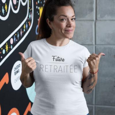 """Image de t-shirt blanc pour femme """"future retraitée"""" - MCL Sérigraphie"""