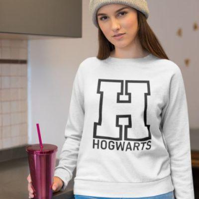 """Image de sweatshirt blanc pour femme """"Hogwarts - Harry Potter"""" - MCL Sérigraphie"""