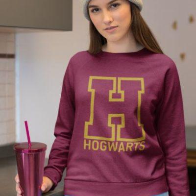 """Image de sweatshirt bordeau pour femme """"Hogwarts - Harry Potter"""" - MCL Sérigraphie"""