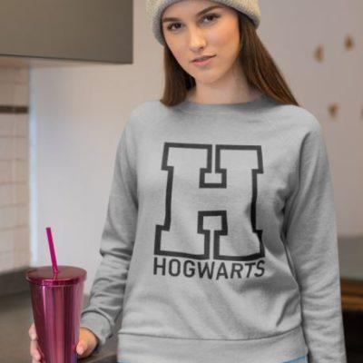 """Image de sweatshirt gris pour femme """"Hogwarts - Harry Potter"""" - MCL Sérigraphie"""