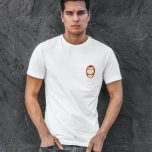 """Image de t-shirt blanc pour homme """"Masque Casa De Papel"""" - MCL Sérigraphie"""