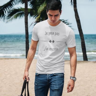 """Image de t-shirt blanc pour homme """"Je peux pas j'ai muscu"""" - MCL Sérigraphie"""
