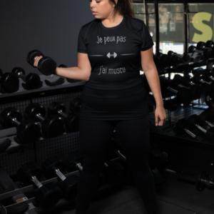 """Image de t-shirt noir pour femme """"Je peux pas j'ai muscu"""" - MCL Sérigraphie"""