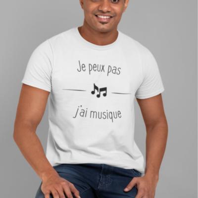 """Image de t-shirt blanc pour homme """"Je peux pas j'ai musique"""" - MCL Sérigraphie"""