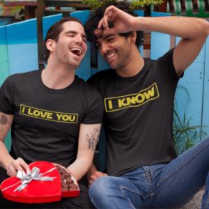 """Image de duo de t-shirts noirs homme """"I Love You/I Know"""" - MCL Sérigraphie"""