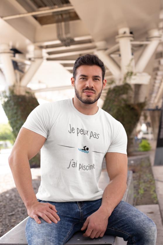 """Image de t-shirt blanc pour homme """"Je peux pas j'ai piscine"""" - MCL Sérigraphie"""