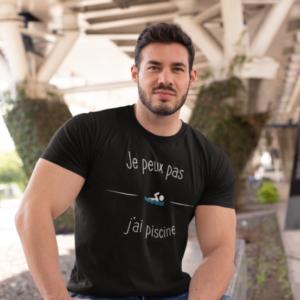 """Image de t-shirt noir pour homme """"Je peux pas j'ai piscine"""" - MCL Sérigraphie"""