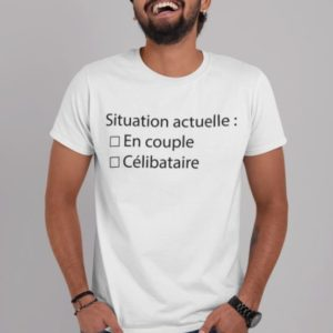 """Image de t-shirt blanc homme """"Situation actuelle : En couple/Célibataire"""" - MCL Sérigraphie"""