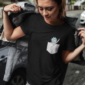"""Image de t-shirt noir pour femme """"Rick"""" - MCL Sérigraphie"""