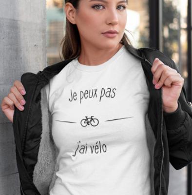 """Image de t-shirt blanc pour femme """"Je peux pas j'ai vélo"""" - MCL Sérigraphie"""