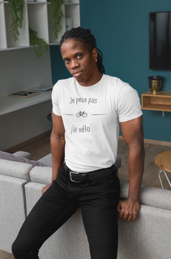 """Image de t-shirt blanc pour homme """"Je peux pas j'ai vélo"""" - MCL Sérigraphie"""
