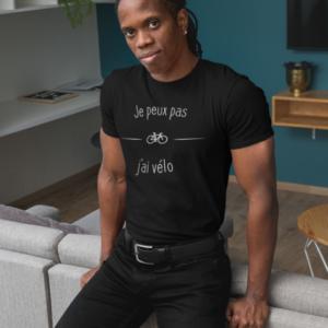 """Image de t-shirt noir pour homme """"Je peux pas j'ai vélo"""" - MCL Sérigraphie"""
