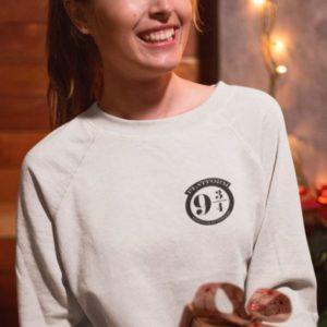"""Image de sweatshirt blanc pour femme """"Voie 9 3/4 - Harry Potter"""" - MCL Sérigraphie"""