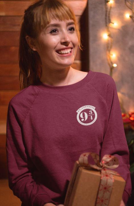 """Image de sweatshirt bordeau pour femme """"Voie 9 3/4 - Harry Potter"""" - MCL Sérigraphie"""