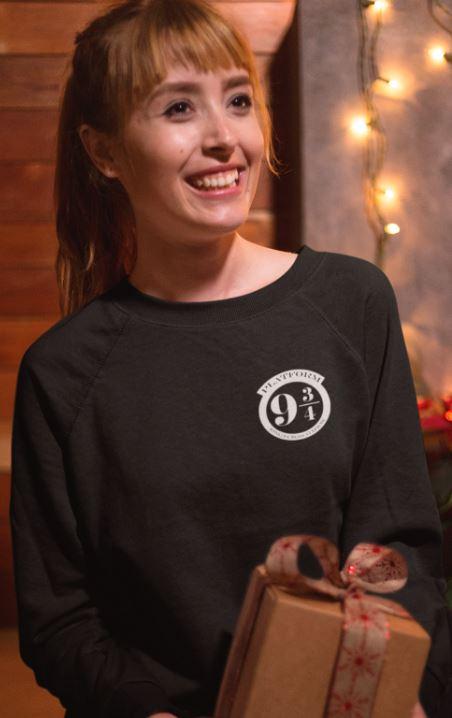 """Image de sweatshirt noir pour femme """"Voie 9 3/4 - Harry Potter"""" - MCL Sérigraphie"""