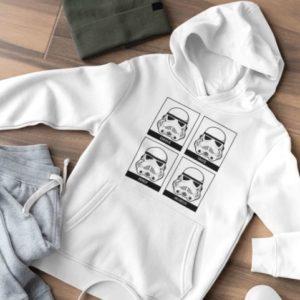 """Image de sweat à capuche blanc pour homme """"Stormtrooper - Star Wars"""" - MCL Sérigraphie"""