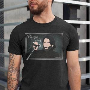 """Image de t-shirt noir pour homme """"Damien Saez"""" - MCL Sérigraphie"""
