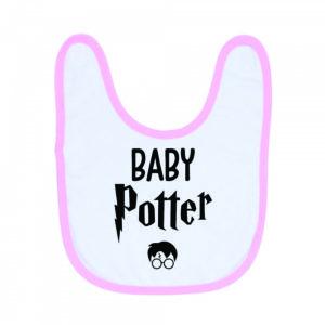 """Image de bavoir rose et blanc """"Baby Potter"""" - MCL Sérigraphie"""