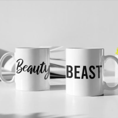 "Image de duo de mugs ""Beauty/Beast"" - MCL Sérigraphie"