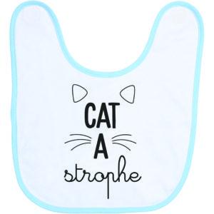 """Image de bavoir bleu et blanc """"Cat a Strophe"""" - MCL Sérigraphie"""