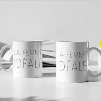 """Image de duo de mugs """"La femme idéale"""" MCL Sérigraphie"""
