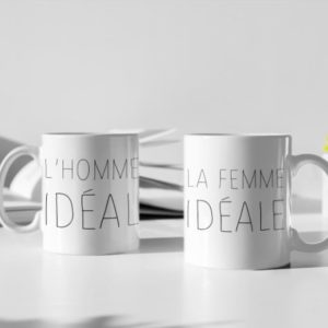 """Image de duo de mugs """"L'homme idéal/La femme idéale"""" - MCL Sérigraphie"""
