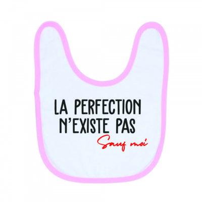 """Image de bavoir rose et blanc """"La perfection n'existe pas"""" - MCL Sérigraphie"""