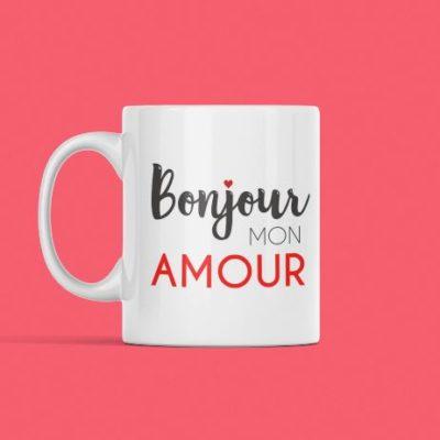 """Image de tasse """"bonjour mon amour"""" - MCL Sérigraphie"""