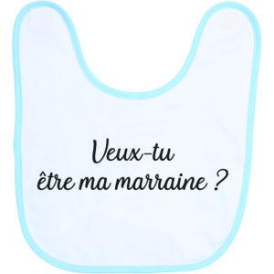 """Image de bavoir bleu et blanc """"veux-tu être ma marraine ?"""" - MCL Sérigraphie"""