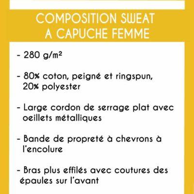 Image de la composition des sweats à capuche femme - MCL Sérigraphie