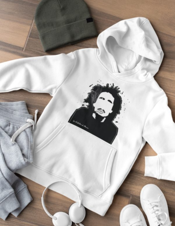 """Image de sweat blanc à capuche """"Bob Marley"""" - MCL Sérigraphie"""