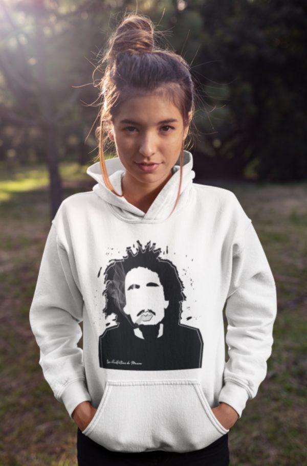 """Image de sweat blanc à capuche femme 'Bob Marley"""" - MCL Sérigraphie"""