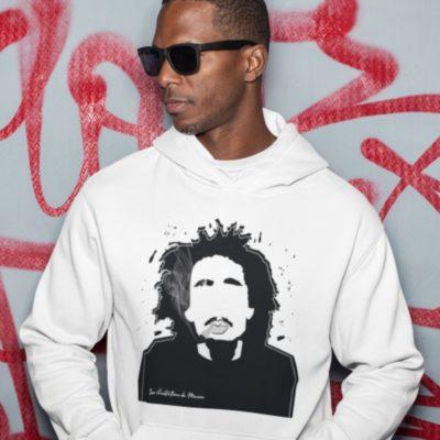 """Image de sweat blanc à capuche homme """"Bob Marley"""" - MCL Sérigraphie"""
