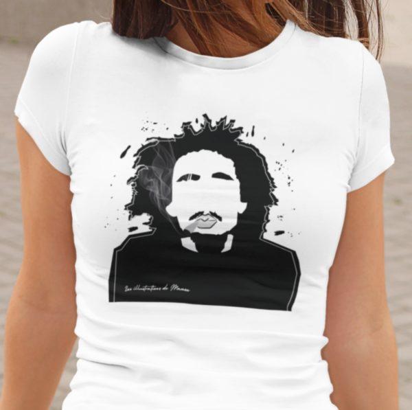 "Image de t-shirt blanc femme ""Bob Marley"" - MCL Sérigraphie"