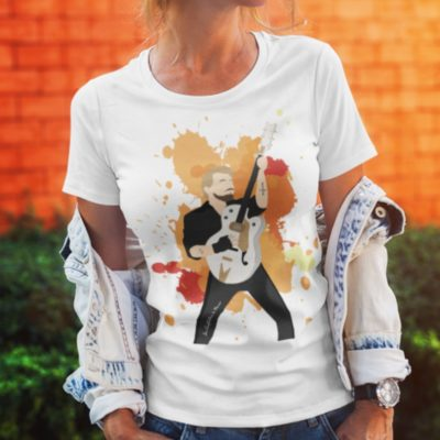 "Image de t-shirt femme ""Johnny Hallyday"" version orange - MCL Sérigraphie"