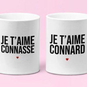 """Image de mugs """"Je t'aime connard/je t'aime connasse"""" - MCL Sérigraphie"""