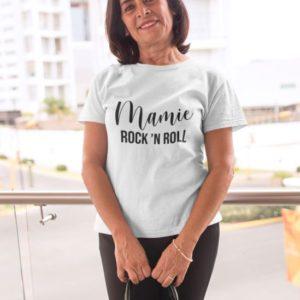 """Image de t-shirt blanc """"Mamie Rock'N Roll""""-MCL Sérigraphie"""