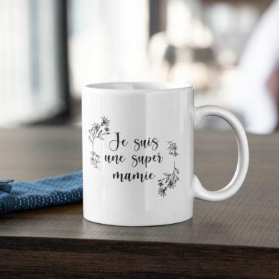 """Image de mug """"Je suis une super mamie"""" - MCL Sérigraphie"""